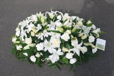 Traditional White casket spray